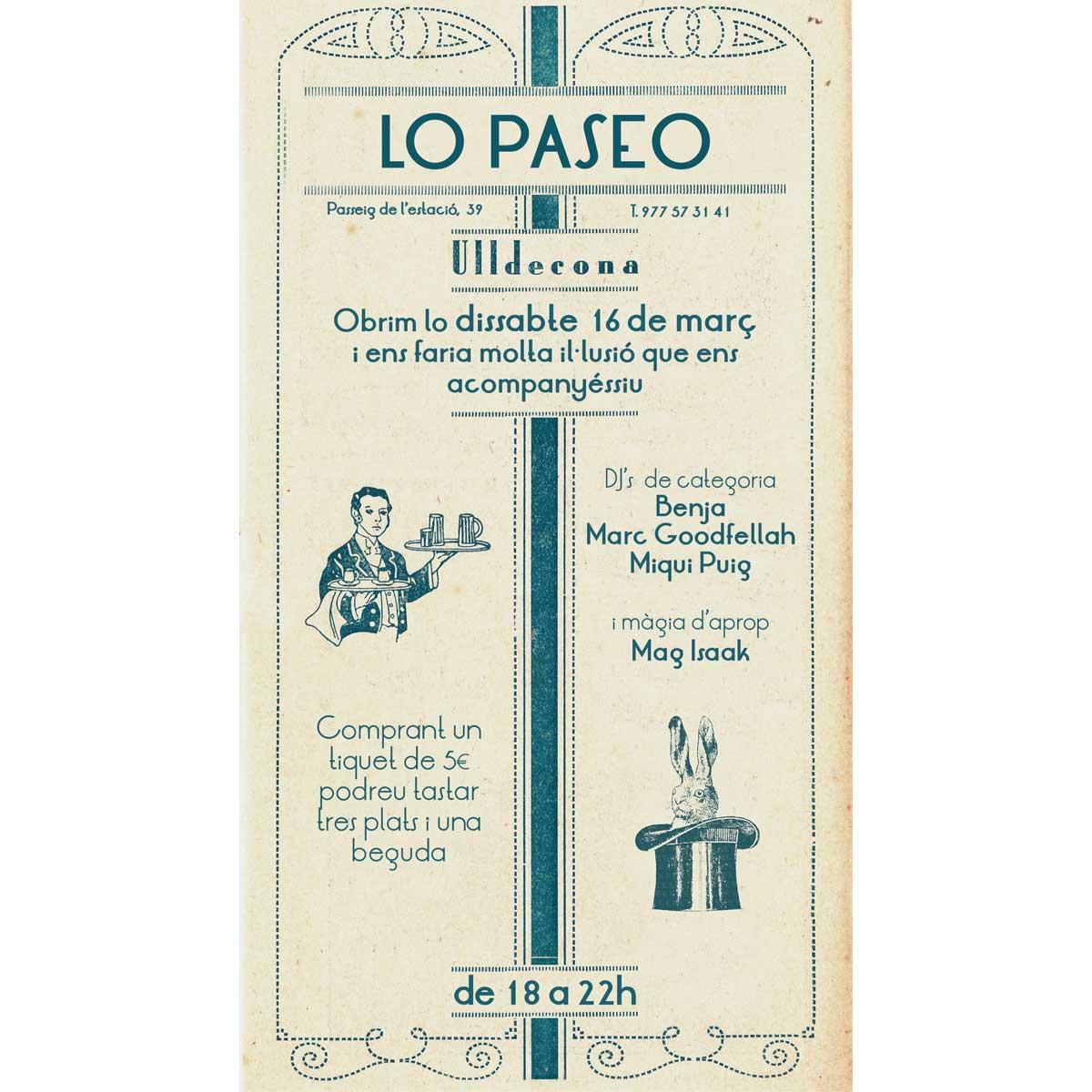 Lo Paseo, restaurant, espai informal i gastrobotiga de km0 a Ulldecona. Cuina de Vicent Guimerà, carta de proximitat i temporada, tradició i innovació.