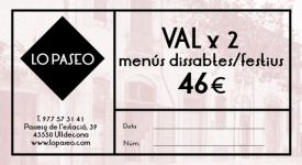 Val regal restaurant LO PASEO, ULLDECONA